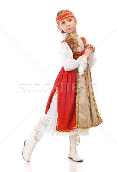Young girl dancing in national dress Stock photo © vankad