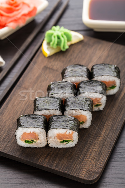 Sushi rolls with salmon and scallion Stock photo © vankad