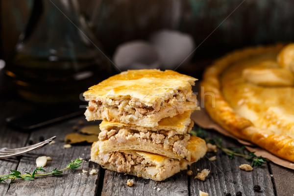 Ev yapımı turta doldurulmuş tavuk yumurta lezzetli Stok fotoğraf © vankad