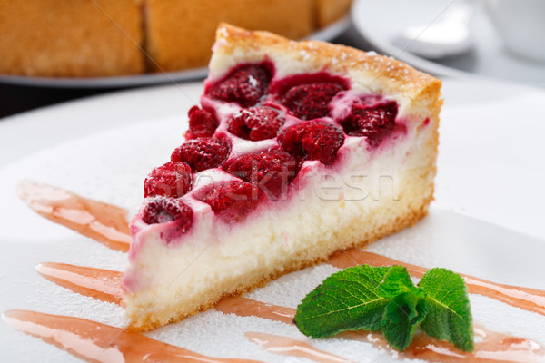 Cheesecake with raspberries Stock photo © vankad