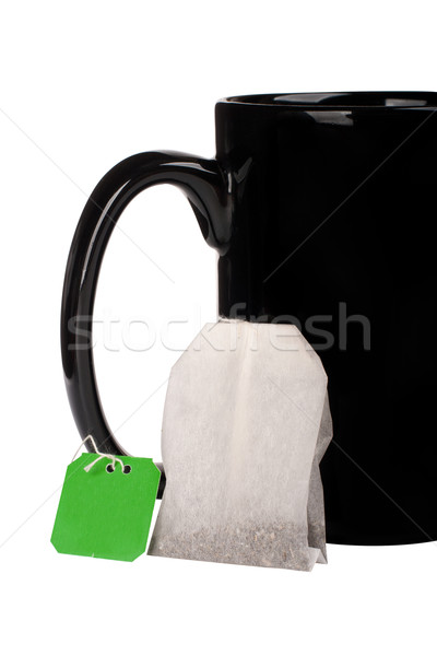 Stok fotoğraf: Büyük · siyah · fincan · çay · çanta · beyaz