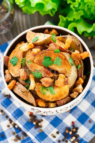 Aardappel heerlijk vlees plantaardige frietjes Stockfoto © vankad