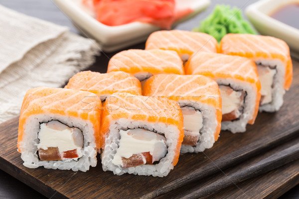 Sushi roll with salmon and shrimp Stock photo © vankad