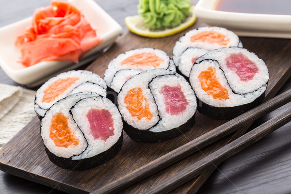 Stock photo: Yin yang futomaki with tuna and salmon