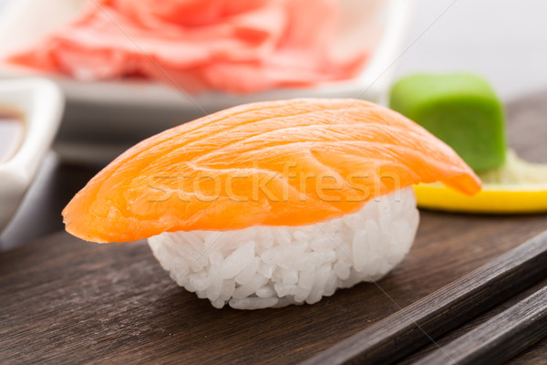 Nigiri sushi with salmon Stock photo © vankad