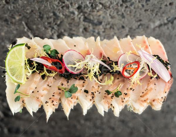 Sea bass new style sashimi Stock photo © vankad