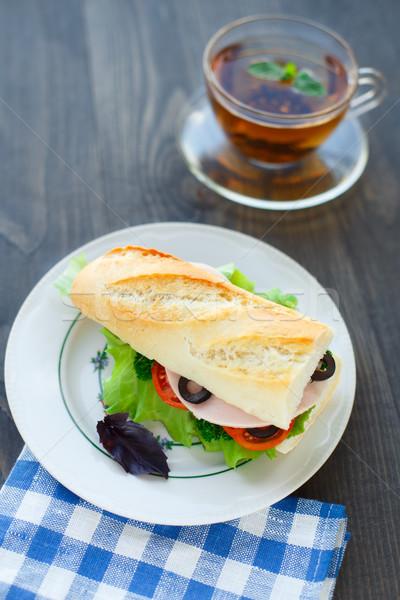 Baguettes jamón hortalizas sándwich mesa pan Foto stock © vankad