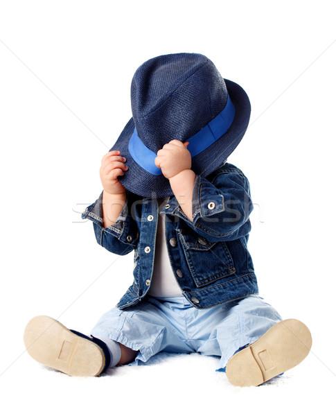 Félénk baba fiú rejtőzködik mögött kalap Stock fotó © vankad