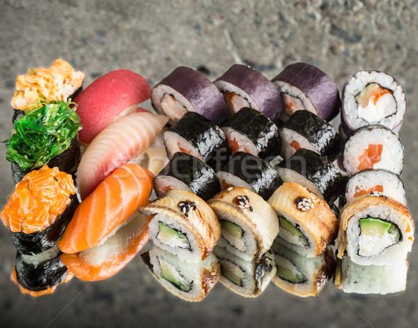 Sushi ayarlamak beton dört farklı Stok fotoğraf © vankad