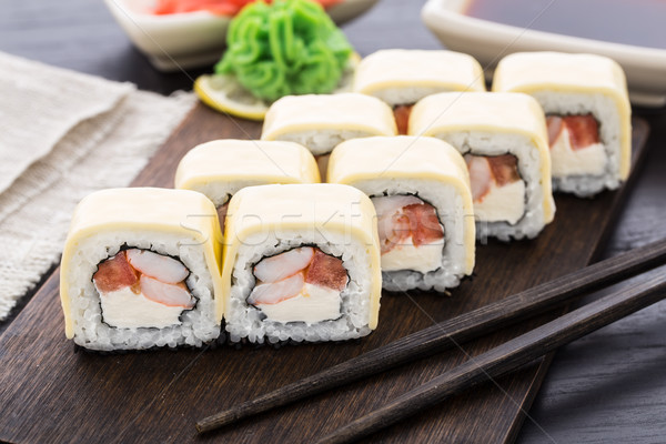 Stock photo: Sushi rolls with shrimps and cheddar cheese