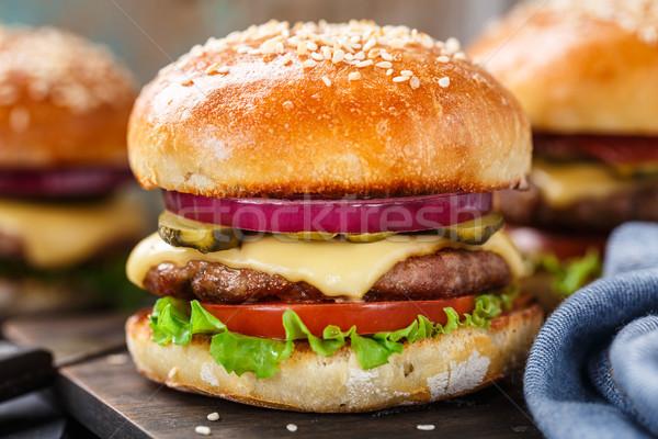 Burger carne pancetta formaggio Foto d'archivio © vankad