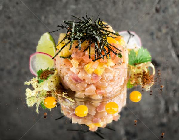 Fresh sea-bass tartar Stock photo © vankad