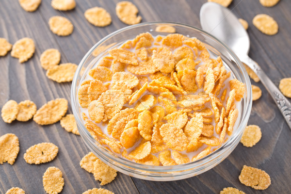Sugar coated corn flakes with milk Stock photo © vankad