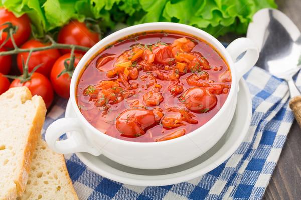 Sopa de legumes tigela tomates cereja cenoura batata repolho Foto stock © vankad
