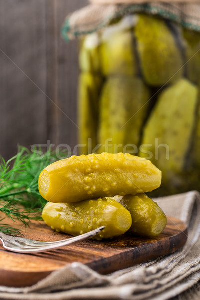 Pickles on a wooden  board Stock photo © vankad