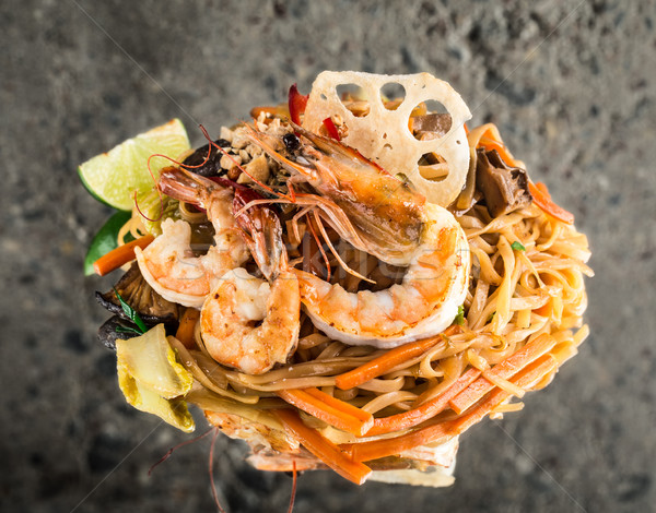 Udon noodles with shrimps Stock photo © vankad