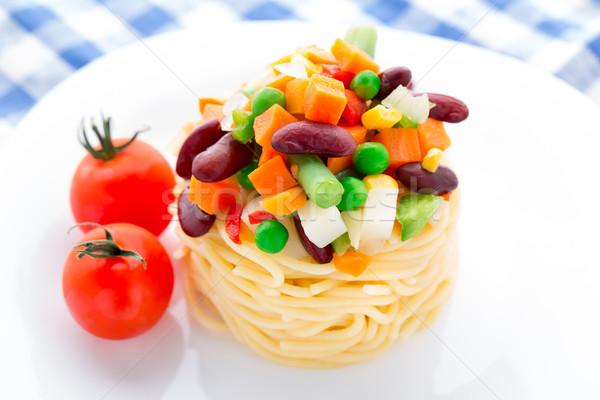 Pasta with vegetables Stock photo © vankad