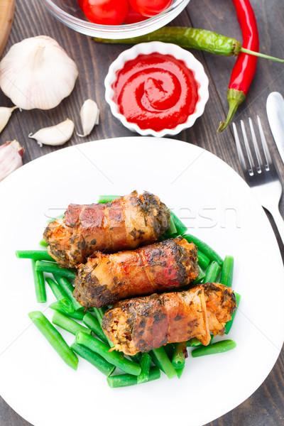 Szalonna finom zöldbab étel zöld fehér Stock fotó © vankad