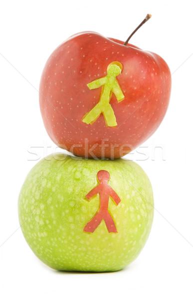 свежие яблоко яблоки человека силуэта красный Сток-фото © vankad