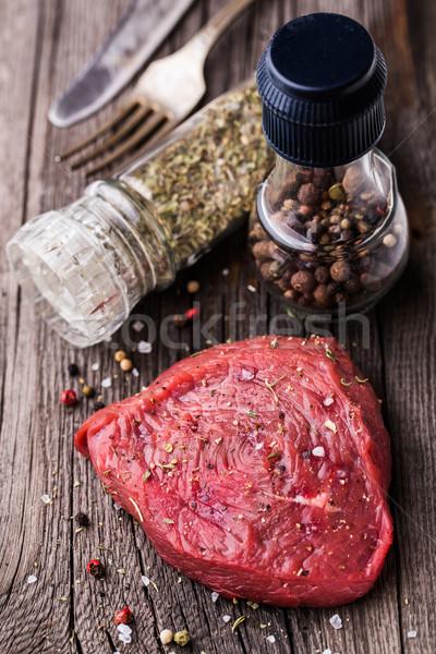 бифштекс сырой специи продовольствие корова Сток-фото © vankad