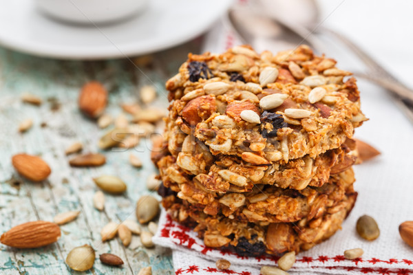 Homemade oatmeal cookies with seeds and raisin Stock photo © vankad