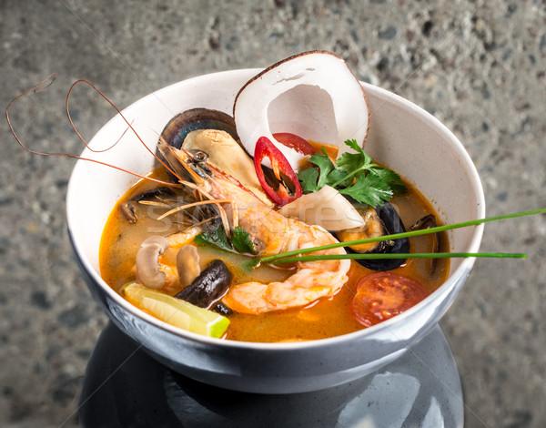 Yum tajska zupa konkretnych tekstury żywności Zdjęcia stock © vankad
