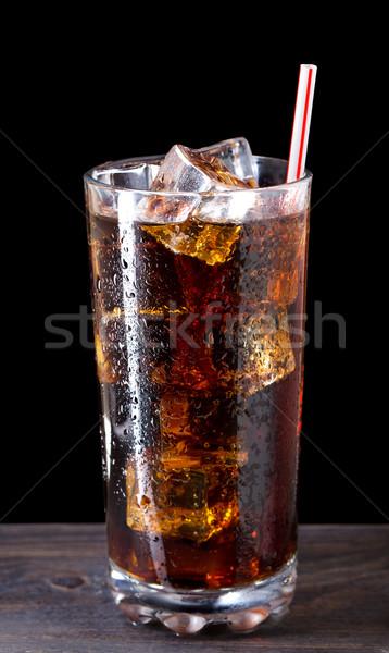 üveg kóla jég szalmaszál háttér csepp Stock fotó © vankad