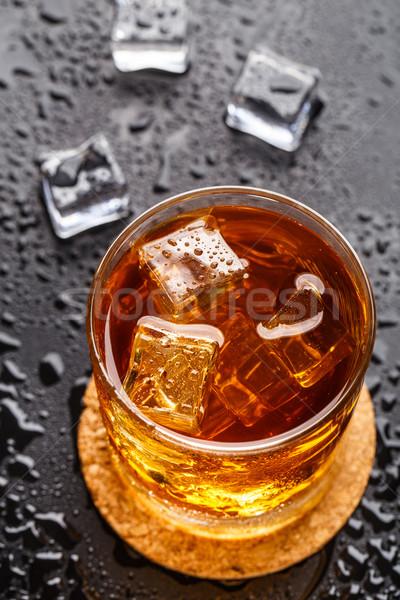 Vidrio hielo beber negro alcohol Foto stock © vankad