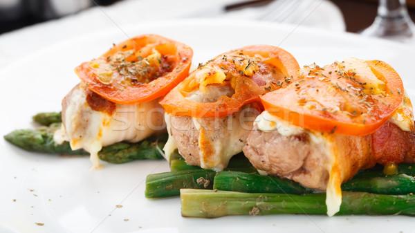 Tocino pechuga de pollo espárragos tomate alimentos pollo Foto stock © vankad