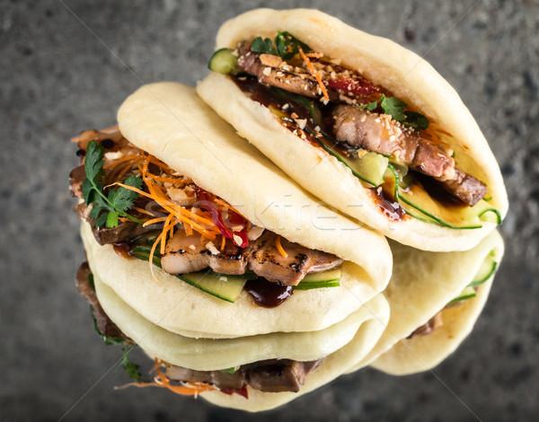 Zsemle párolt szendvics disznóhús textúra kő Stock fotó © vankad