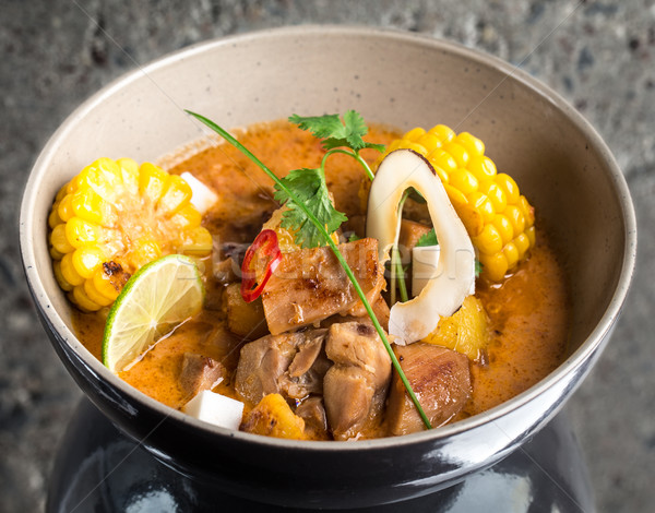 Stock fotó: Curry · tyúk · tál · beton · textúra · étel