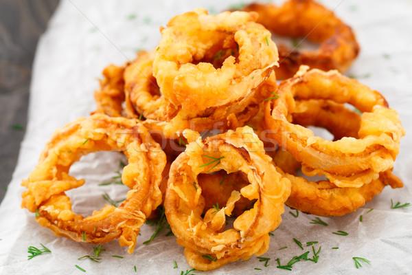 Eigengemaakt knapperig ui ringen perkament Stockfoto © vankad