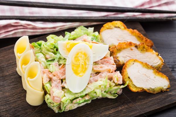 Chicken tempura salad Stock photo © vankad