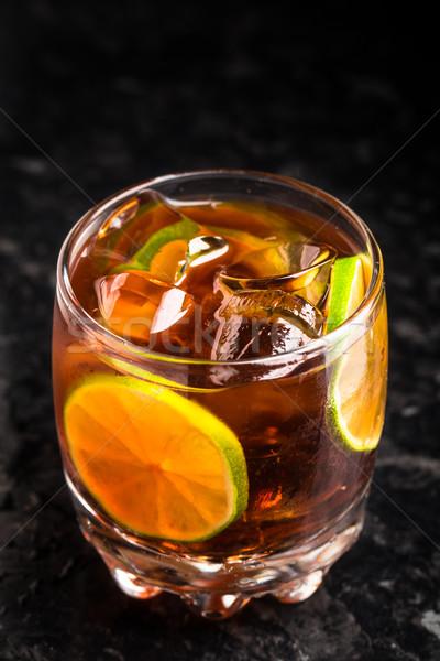 Mármore tabela pequeno vidro fundo laranja Foto stock © vankad