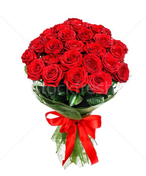букет красные розы изолированный белый свадьба закрывается Сток-фото © vankad