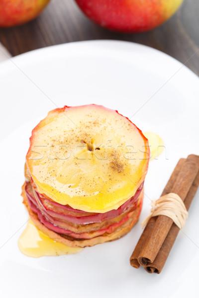 Stake of sliced baked apple Stock photo © vankad