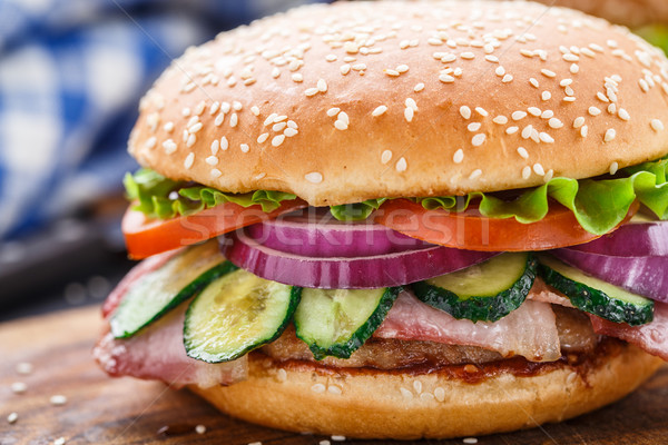Bacon burger with vegetables and cutlet. Stock photo © vankad