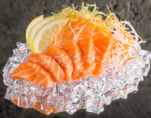 Friss sashimi jég lazac beton textúra Stock fotó © vankad