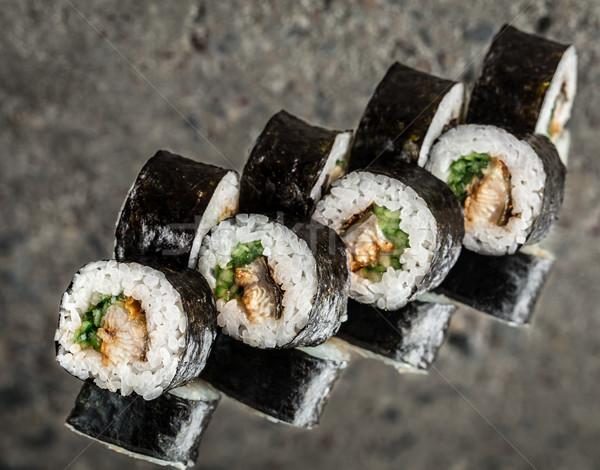 Sushi rotolare anguilla cetriolo texture alimentare Foto d'archivio © vankad