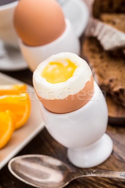 Soft boiled egg for breakfast Stock photo © vankad