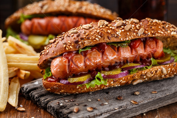 Barbecue gegrild hot dog diner Rood Stockfoto © vankad