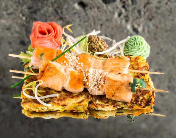 鮭 野菜 テクスチャ 岩 赤 具体的な ストックフォト © vankad