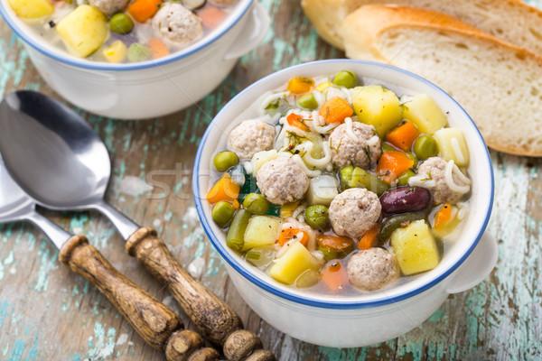 Zupa warzyw puchar tabeli chleba Zdjęcia stock © vankad