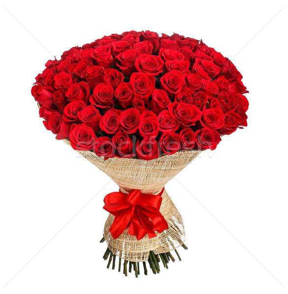 букет 100 красные розы изолированный белый свадьба Сток-фото © vankad