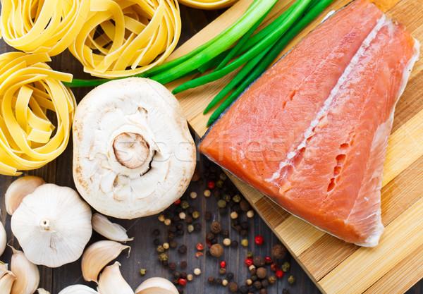 Stock photo: Ingredients for salmon pasta