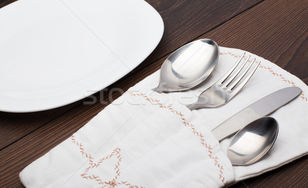 Pouch with fork, spoon and knife Stock photo © vankad