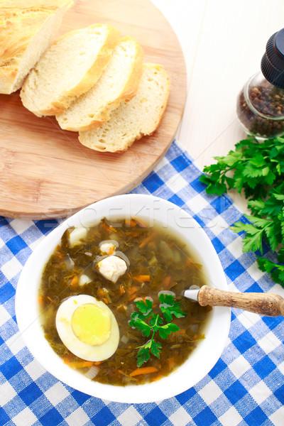 Delicious soup with sorrel Stock photo © vankad