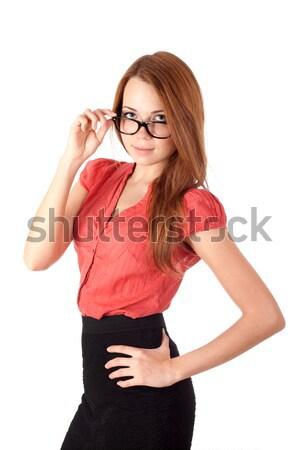 Genç kadın gözlük kadın öğrenci yalıtılmış beyaz Stok fotoğraf © vankad