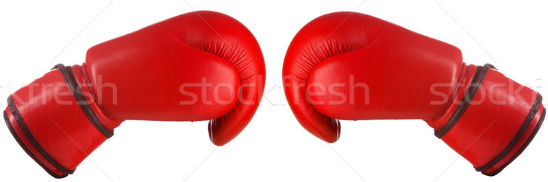 Pair of red leather boxing gloves Stock photo © vankad