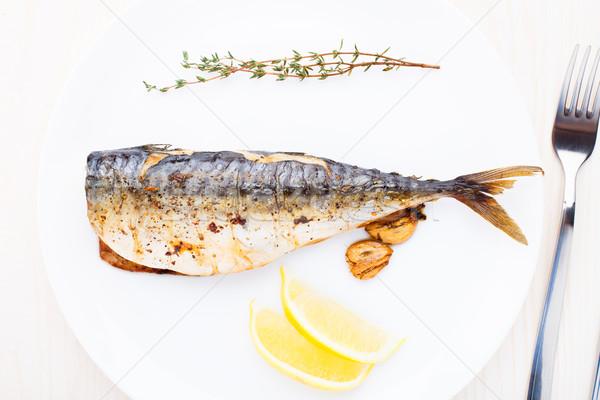 Sült makréla finom fehér tányér hal Stock fotó © vankad
